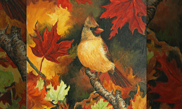 Fall Cardinal Scene Wood Burning Pattern