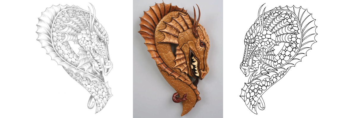 Free Scroll Saw Pattern: A Portrait of a Dragon