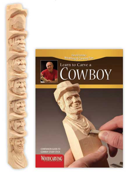 Wood Carving Study Stick - Cowboy