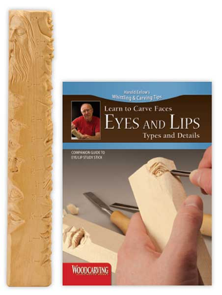 Wood Carving Study Stick - Eyes and Lips