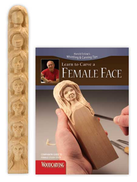 Wood Carving Study Stick - Female Face