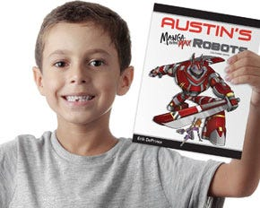Personalized Manga to the Max Robots Coloring Book