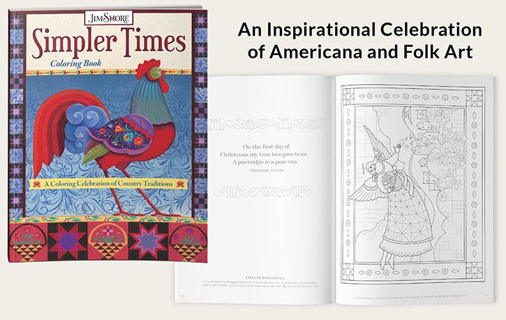 Jim Shore Simpler Times Coloring Book - An Inspirational Celebration of Americana and Folk Art