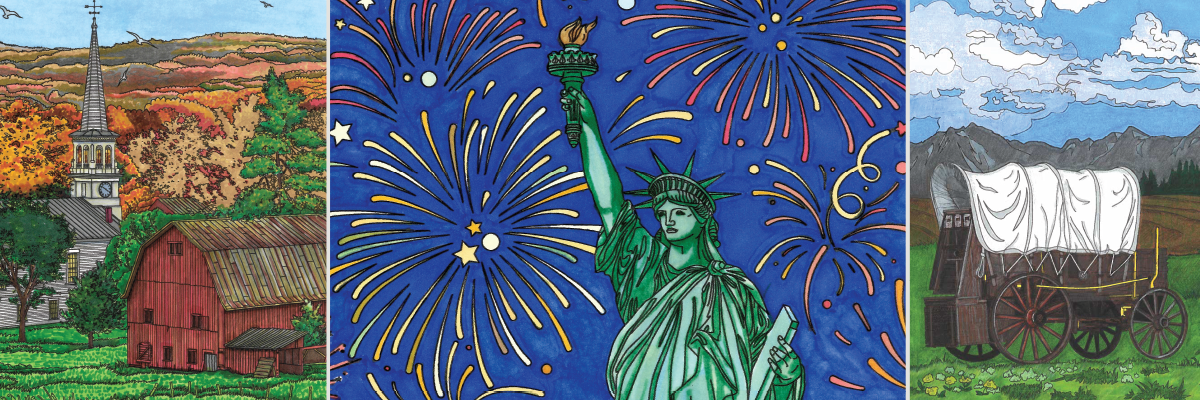 America's Landmarks and Landscapes Spotlighted in these United States Coloring Pages
